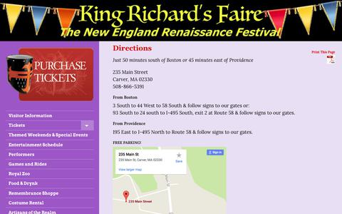 Screenshot of Maps & Directions Page kingrichardsfaire.net - Weekend Events Fair Directions Boston Plymouth Cape Cod - captured Jan. 11, 2018