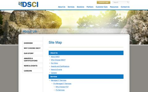 Screenshot of Site Map Page dscicorp.com - Site Map - DSCI - captured Feb. 8, 2016