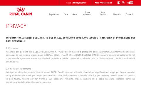 Screenshot of Privacy Page royalcanin.it - Privacy | Royal Canin - captured Dec. 4, 2016