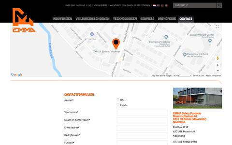 Screenshot of Contact Page emmasafetyfootwear.com - Contact - captured July 14, 2018