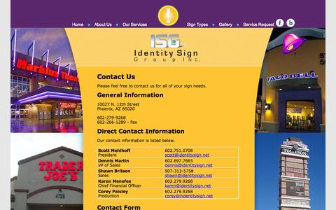 Screenshot of Contact Page identitysign.net - Contact Us - captured Oct. 6, 2014