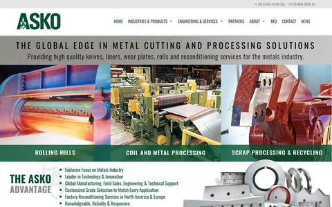 Screenshot of Home Page askoinc.com - ASKO, Inc. – The global edge in metal cutting and processing solutions - captured Oct. 2, 2018