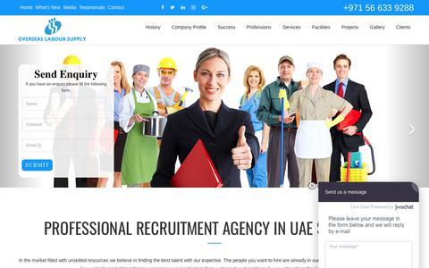 Screenshot of Home Page olsuae.com - Recruitment Agency Dubai | Labor Supply Company in UAE | OLS - captured Oct. 19, 2017