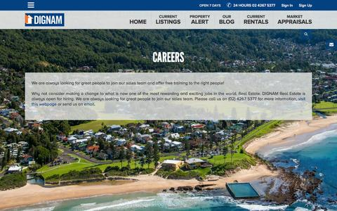 Screenshot of Jobs Page dignam.com.au - Dignam Real Estate specialises in real estate in  Wollongong & Illawarra and Shoalhaven - Careers - captured Feb. 9, 2016