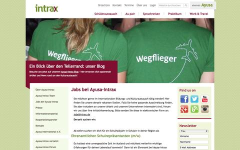 Screenshot of Jobs Page intrax.de - Karriere bei Ayusa-Intrax: aktuelle Jobangebote und Praktika | Ayusa-Intrax - captured Oct. 31, 2014