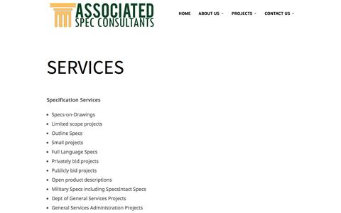 Screenshot of Services Page spec-consultants.com - Services | Spec Consultant - captured Sept. 25, 2016