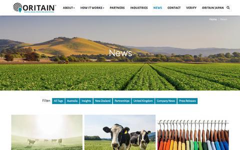 Screenshot of Press Page oritain.com - Oritain News » Oritain - captured Sept. 20, 2018