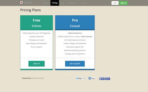 Screenshot of Pricing Page dilmot.com - Dilmot is the application to publish Q&A's, on-line interviews, webchats, debates, discussions - captured Sept. 25, 2014