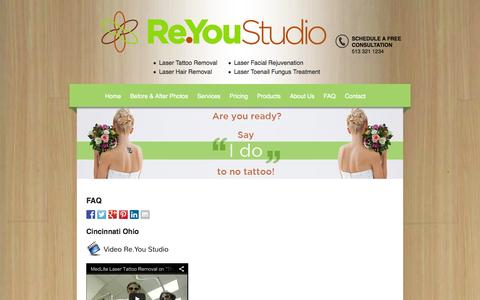 Screenshot of FAQ Page reyoustudio.com - Cincinnati Ohio Laser Tattoo Removal - Frequently Asked Questions - captured Oct. 27, 2014