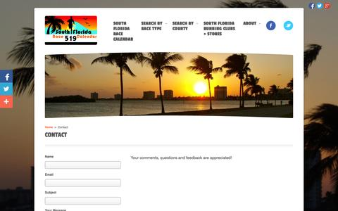 Screenshot of Contact Page sflracecalendar.com - Contact | South Florida Race Calendar - captured Oct. 6, 2014