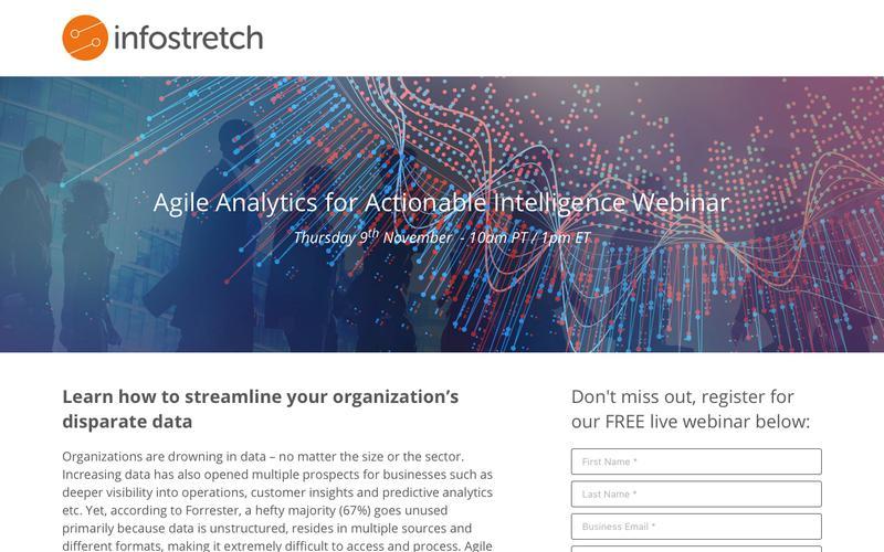 Agile Analytics for Actionable Intelligence Webinar Thursday 9th November - 10am PT / 1pm ET