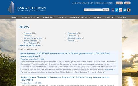 Screenshot of Press Page saskchamber.com - News - Saskatchewan Chamber of Commerce - captured Dec. 17, 2018