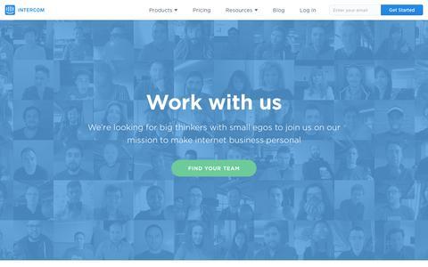Screenshot of Jobs Page intercom.io - Careers | Intercom - captured April 1, 2016