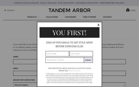 Screenshot of Contact Page tandemarbor.com - Contact Us   Tandem Arbor Customizable Furniture - captured Sept. 20, 2018