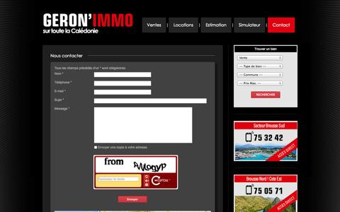Screenshot of Contact Page geronimmo.nc - Géron'immo - Contact - captured Sept. 29, 2014