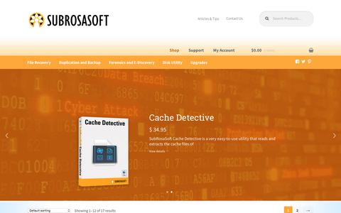 Screenshot of Home Page subrosasoft.com - Shop - SubRosaSoft.com - Awesome Mac Security and Data Recovery Software - captured June 16, 2017