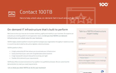 Screenshot of Contact Page 100tb.com - Contact 100TB's Infrastructure Experts - captured Aug. 11, 2016