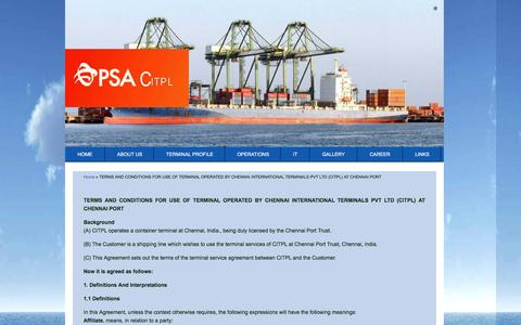 Screenshot of Terms Page citpl.co.in - TERMS AND CONDITIONS FOR USE OF TERMINAL OPERATED BY CHENNAI INTERNATIONAL TERMINALS PVT LTD (CITPL)   AT CHENNAI PORT | PSA - CITPL - captured Jan. 23, 2016