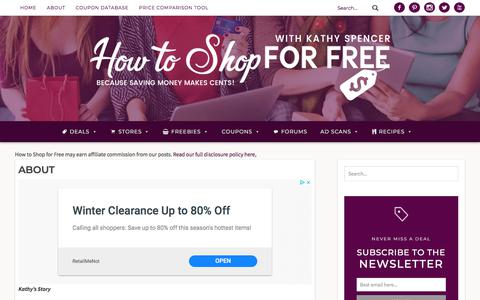 Screenshot of About Page howtoshopforfree.net - About | How to Shop For Free with Kathy Spencer - captured Jan. 5, 2020