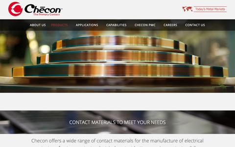 Screenshot of Products Page checon.com - Electrical Contacts | Contact Materials | Refractory Contacts - captured Sept. 27, 2018