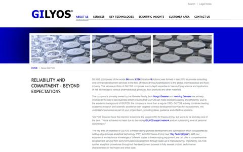 Screenshot of About Page gilyos.com - GILYOS GmbH - contract service provider in the field of freeze-drying - captured Oct. 1, 2014