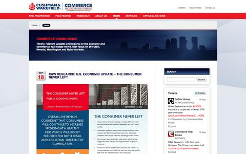 Screenshot of Press Page comre.com - Commerce Communique - Timely, relevant updates and reports on the economy and commercial real estate world, with focus on the Utah, Nevada, Washington and Idaho markets. - captured Sept. 23, 2014