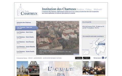 Screenshot of Home Page leschartreux.net - Institution des Chartreux - De la Maternelle aux Classes Supérieures, en externat, demi-pension ou internat. - captured Oct. 6, 2014