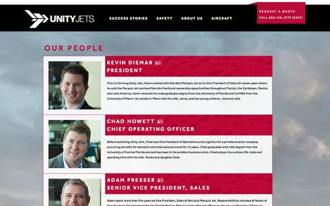 Screenshot of Team Page unityjets.com - Our People | Unity Jets - captured Oct. 26, 2014