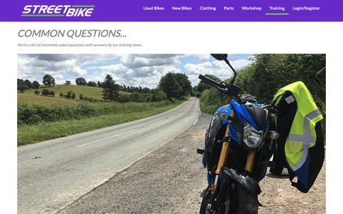 Screenshot of FAQ Page streetbike.co.uk - Rider Training from Streetbike : Common Questions | Streetbike - captured Oct. 20, 2018