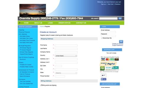Screenshot of Signup Page overnitesupply.com - ~Overnite Supply LLC, Marble Falls, TX 78654- Register - captured Oct. 26, 2014