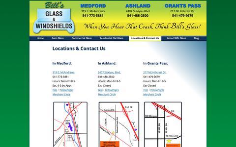Screenshot of Contact Page billsglass.com - Locations & Contact Us - Bill's Glass serving Medford, Ashland & Grants Pass - captured Oct. 10, 2017