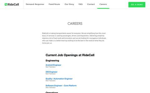 Screenshot of Jobs Page ridecell.com - RideCell | Fleet Automation - captured Feb. 22, 2016