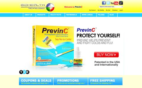 Screenshot of Home Page previnc.com - PrevinC - Cold, Flu and Respiratory Allergies Helps Prevention Homeopathic Nasal Solution - captured Oct. 5, 2014