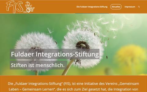Screenshot of Home Page fis-fulda.de - Fuldaer Integrations-Stiftung – Wir fördern die Integration von Menschen mit Beeinträchtigungen - captured Oct. 30, 2018