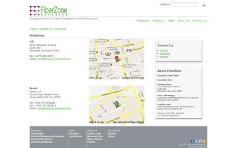 Screenshot of Maps & Directions Page fiberzone-networks.com - FiberZone Networks - captured Sept. 16, 2014