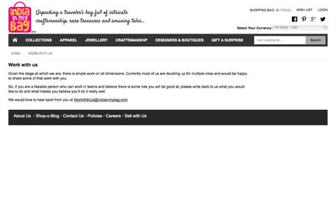 Screenshot of Jobs Page indiainmybag.com - Work with us - captured Sept. 19, 2014