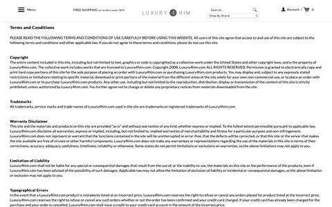 Screenshot of Terms Page luxury4him.com - Terms - captured Dec. 16, 2018
