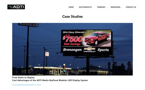Screenshot of Case Studies Page adti.com - Case Studies | ADTI - captured Oct. 3, 2018