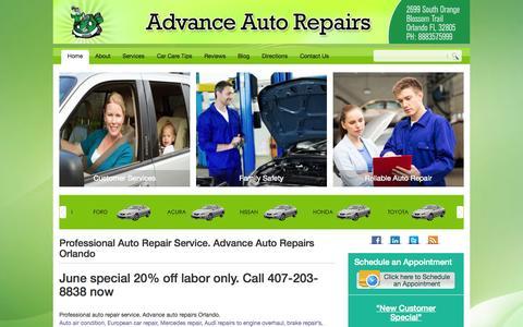 Screenshot of Home Page autorepairfl.com - Professional Auto Repair Service. Advance Auto Repairs Orlando - captured June 23, 2015