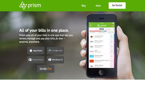 Screenshot of Home Page prismmoney.com - Prism Bill Pay (formerly Mobilligy) - captured Dec. 13, 2014