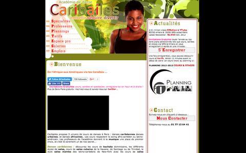 Screenshot of Home Page Site Map Page caribailes.fr - Caribailes : école de danses urbaines, caribéennes, africaines et latino-américaines. - captured July 11, 2016