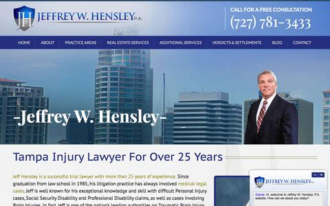 Screenshot of About Page hensleylaw.com - Jeffrey Hensley | Tampa Injury Law Firm - captured April 9, 2017