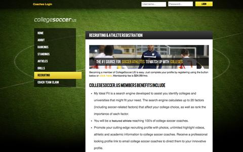 Screenshot of Signup Page gisiindoors.com - Recruiting - CollegeSoccer.Us - captured July 14, 2018