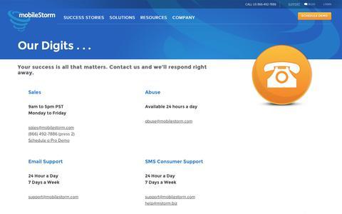 Screenshot of Contact Page Support Page mobilestorm.com - Contacts, Support, Media Inquiries   mobileStorm   mobileStorm - captured Dec. 4, 2019