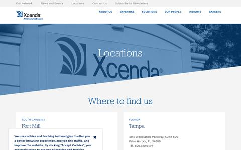 Screenshot of Locations Page xcenda.com - Locations - captured July 27, 2018