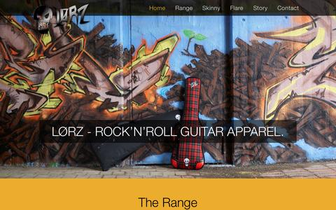 Screenshot of Home Page lorz.co - Lorz | Rock'n'Roll Guitar Apparel - captured Sept. 20, 2015