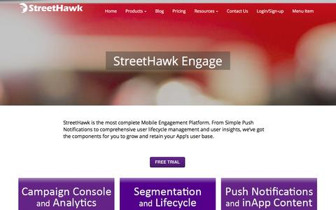 Screenshot of Products Page streethawk.com - Mobile Marketing Automation Products from StreetHawk - captured Jan. 22, 2016