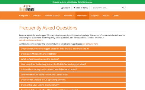 Screenshot of FAQ Page ruggedtabletpc.com - Frequently Asked Questions - FAQ - captured Nov. 29, 2016