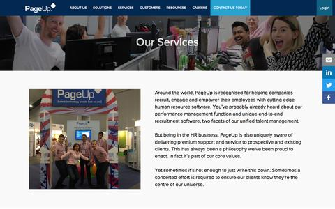 Screenshot of Services Page pageuppeople.com - PageUp's Services - Pre & Post Sale Support for Your Business - captured Dec. 28, 2016