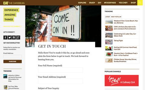 Screenshot of Contact Page eatthecaribbean.com - Get in Touch | EAT The Caribbean - captured Oct. 22, 2014